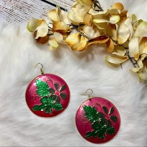 5/$25 Pink, Green & Gold Floral Statement Earrings
